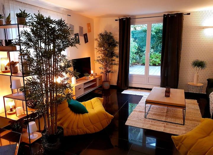 Maison 2min LAC 4 Pers RDC terrasse SUD Park privé