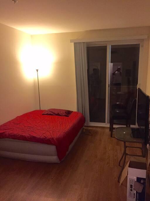 bedroom with patio door and TV