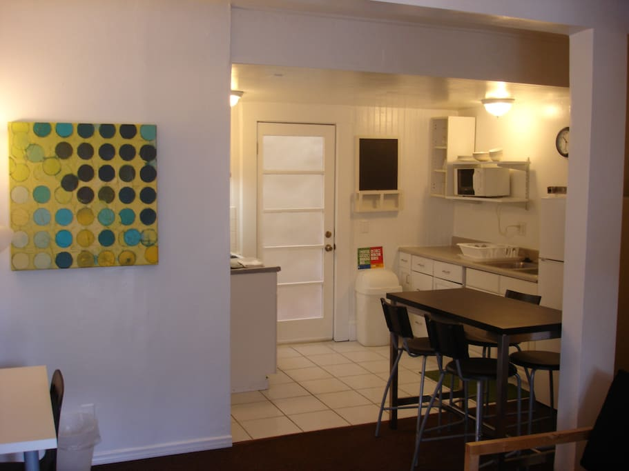 The unit has a full kitchen with microwave, utensils, cookware and everything you need to feel right at home.