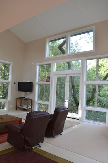 Huge windows with views of California oaks and woodlands. Feels like a treehouse!