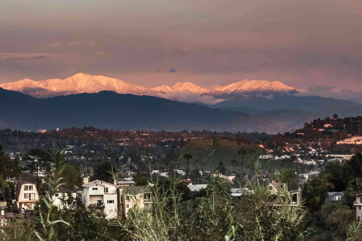Winter sunrise on the snow-capped Mt. Baldy as seen from our backyard deck.