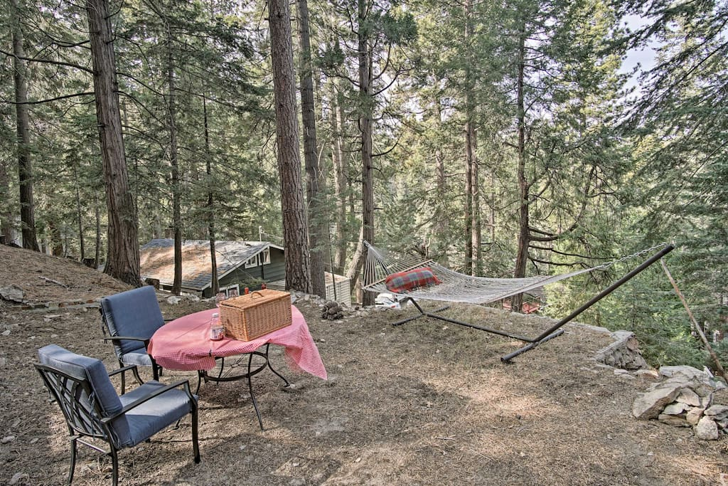 Enjoy date night with your loved one at this private picnic area with a hammock.