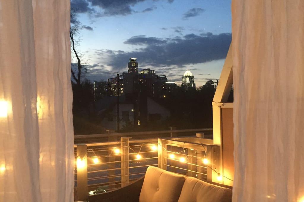 Balcony with skyline view