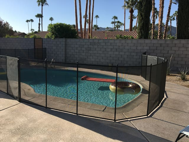 Ask about our OPTIONAL child security fence. Fully surrounds the pool and spa; additional fees apply.