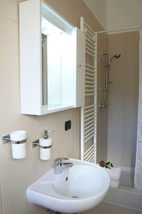 Privat badrum med bidé, dusch, toalett, handfat och handdukstorkare