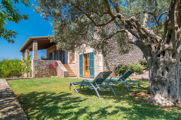 """Light-flooded Holiday Home """"Finca Es Serva"""" with Garden, Pool, Terraces & WiFi; Parking Available"""