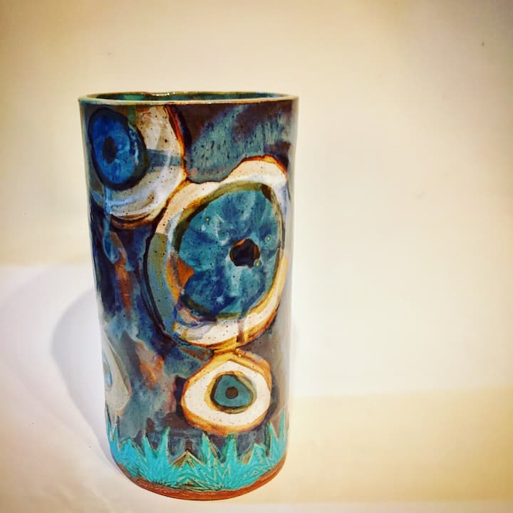 blue eyed vase hand painted