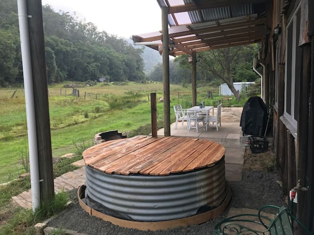 Plunge pool outdoor seating and bbq area