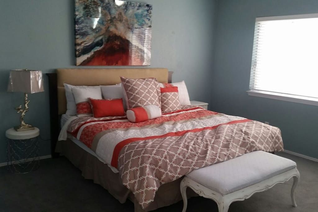 Master bedroom with king sized comfy bed. Sleeps 2.5