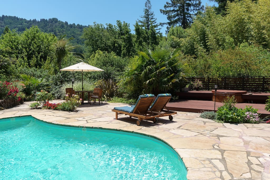 The pool is refreshing after a soak in the hot tub, even during the winter!