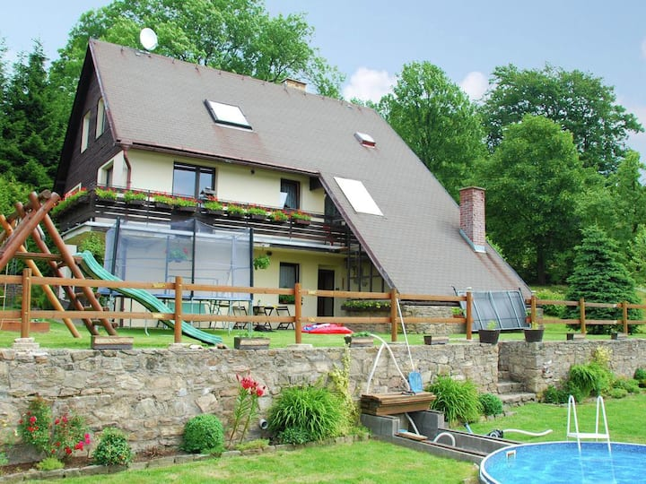 Holiday in hill rich landscape with private pool