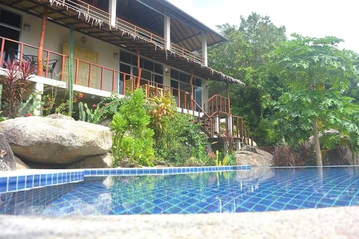 Maison tropicale, face à la mer, piscine.