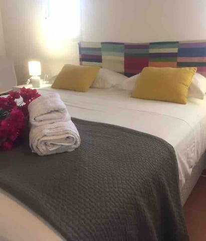 Chambre N°1 équipée d'un lit double de 160 et sa salle de douche à l'italienne attenante..et dressing
