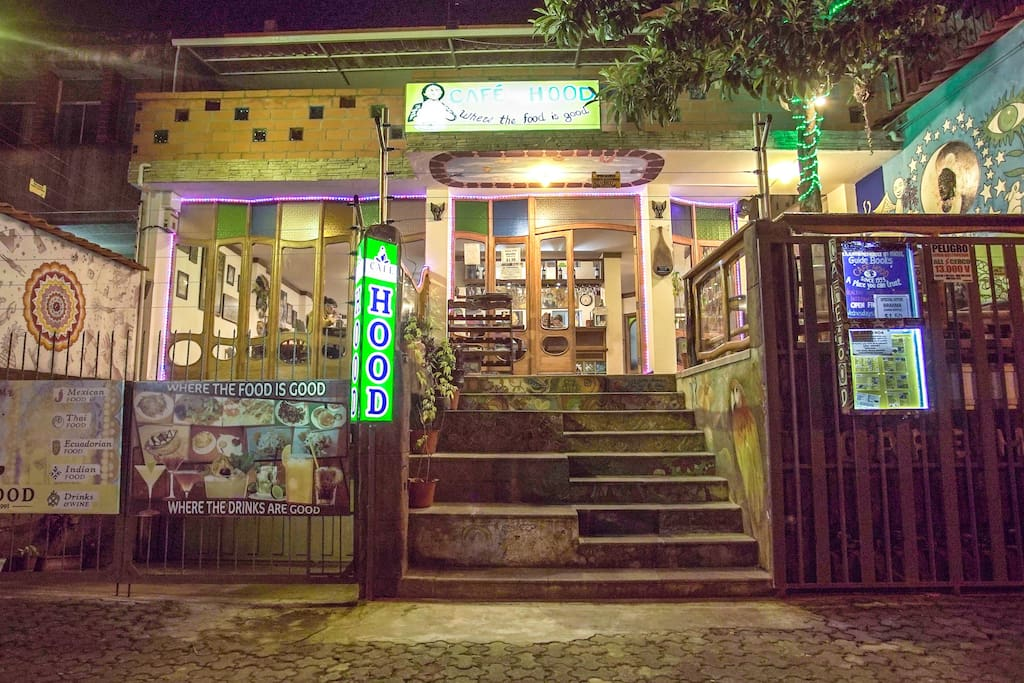 The apartment is above the delicious Café and Restaurant Hood