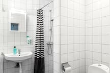 Fully tiled toilet with all of the necessities you need, we supply shampoo and soap