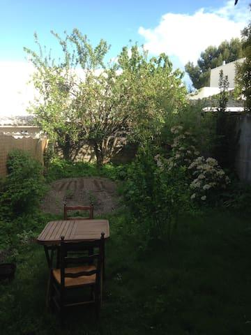 le jardin et au fond le coin potager