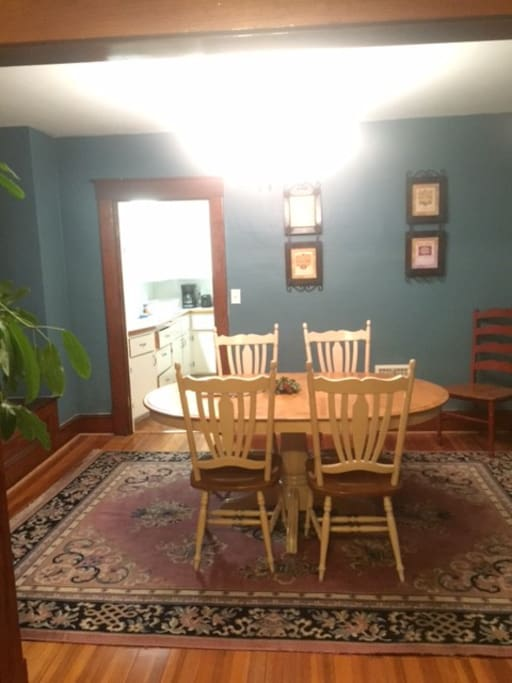 Solid birch table with 6 matching side chairs. Additional chairs available.