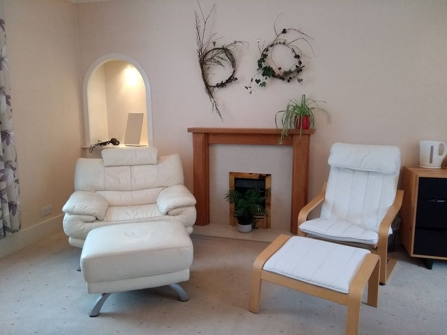 Seating area with ornamental fireplace, there are two radiators in the room.