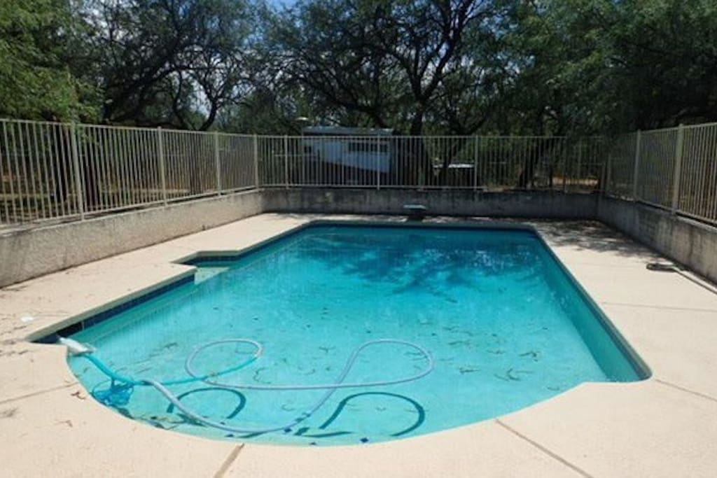 The pool is crystal clear and professionally serviced.