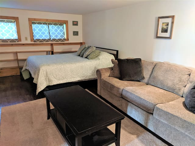 Bedroom with one Queen Bed, Couch (big enough to sleep on) and TV
