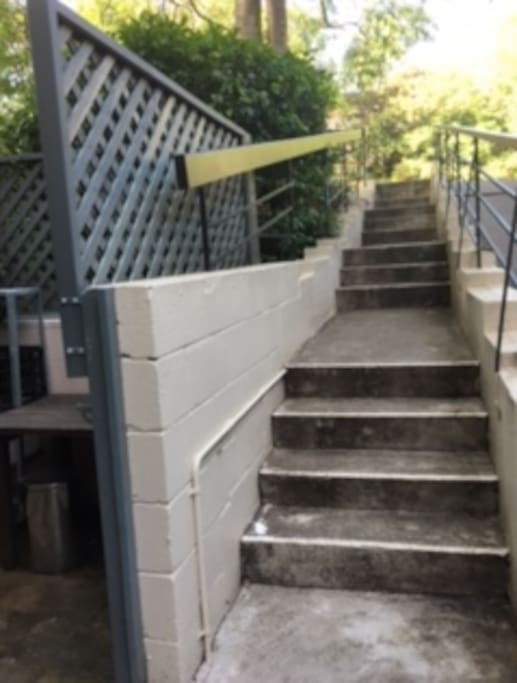 Stairs leading to the front court yard (gate can be access from the inside so will need to go down  and up more stairs to get to the front door but can access from here if you have someone to do this for you.