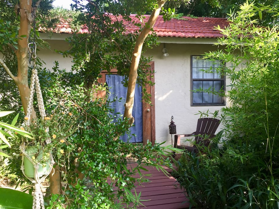 Side door to bedroom from pool area.