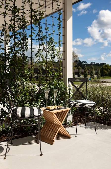 Each Suite opens out to a private patio  to sit and enjoy the quiet beauty of the rural surrounding