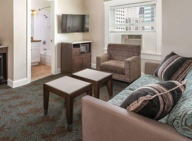 Sitting room with sleeper sofa