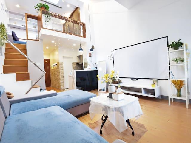 【舒之屋】东关古渡东关街旁瘦西湖个园边超大百寸投影loft公寓