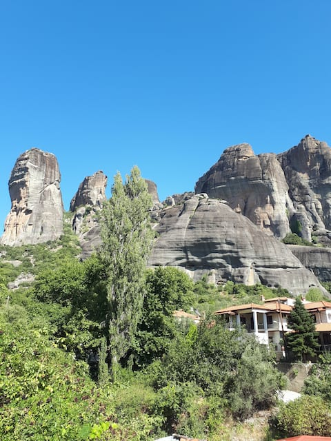 The house under the rocks of Meteora