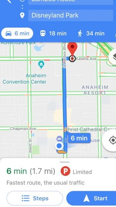 only a 6 min drive to disneyland (or a $7 uber/lyft)