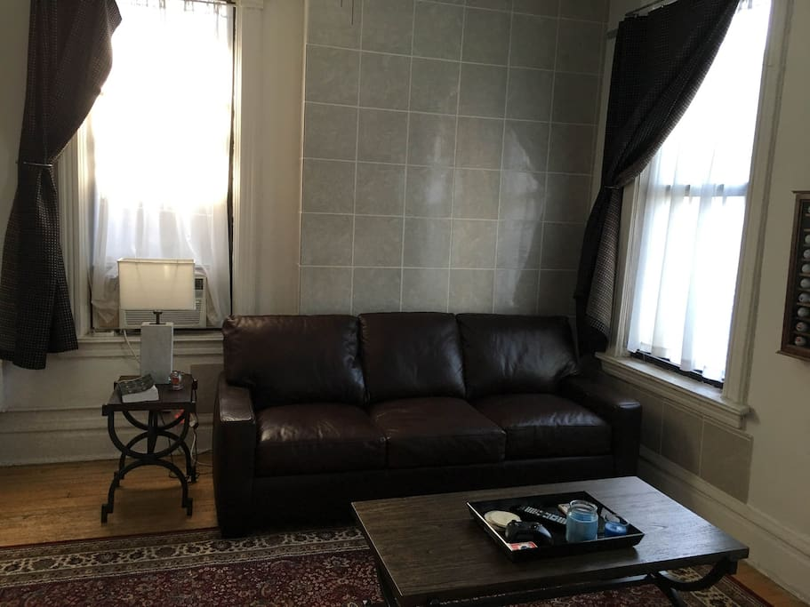 Fully furnished living room with great natural light.