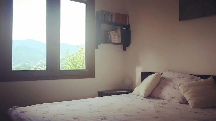 Votre chambre. Un lit double, des volets de bois, une place dans la penderie pour vos vêtements / bedroom with closet and window shutters