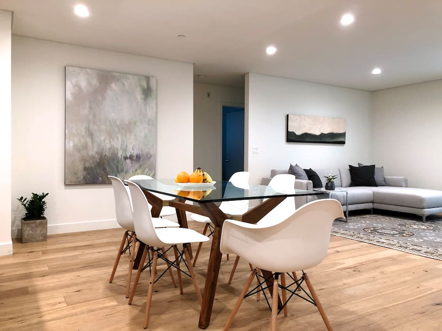 6 seating dining area and living room