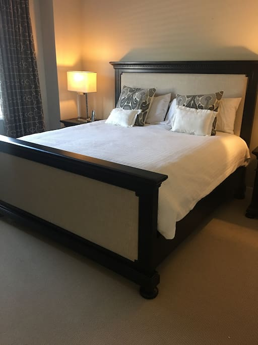 Large King Restoration Hardware bed and pottery barn bedding