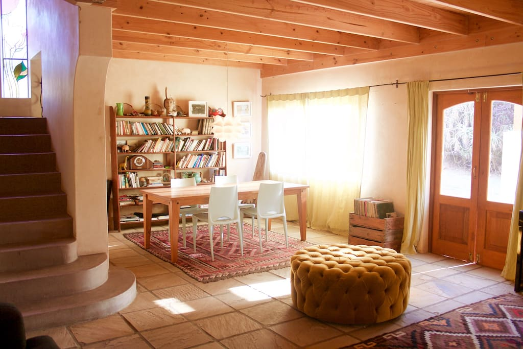 Living space with lounge and dining area - downstairs.