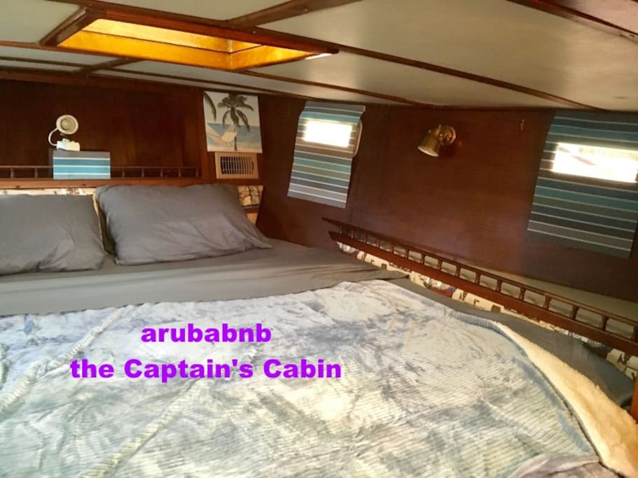 Our largest cabin. Full King bed, low ceiling