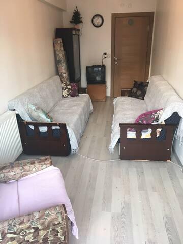 Bir odada 2 kişilikyatak  Bir odada 2 kanepe 4kişi