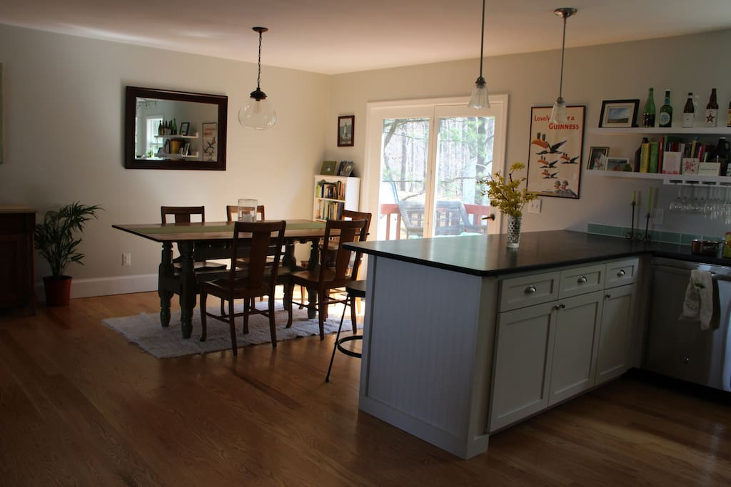 Open kitchen to dining.