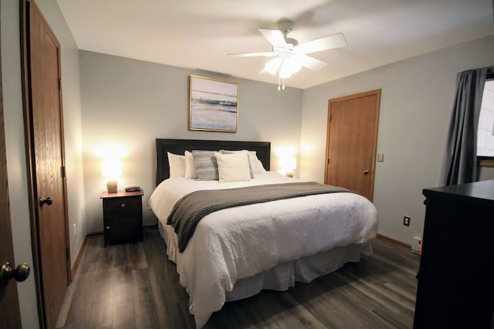 Enjoy high quality sleep on this king size bed. USB outlets by bedside table