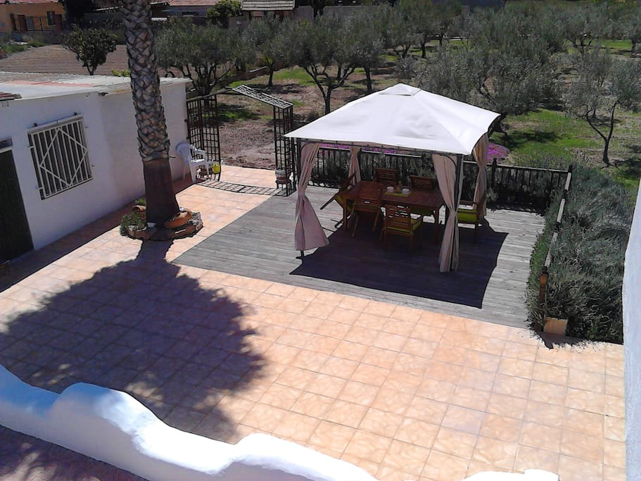 View of the casita and private shady pergola