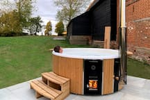 Up to eight people can enjoy the wood fired hot tub