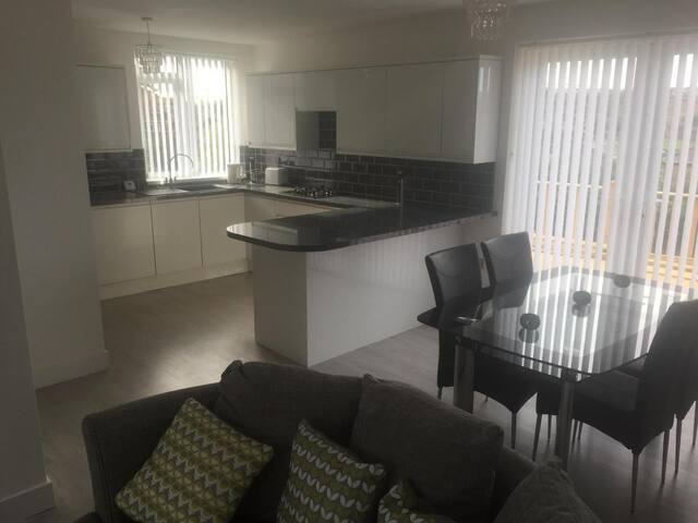 Fully fitted kitchen and dining area