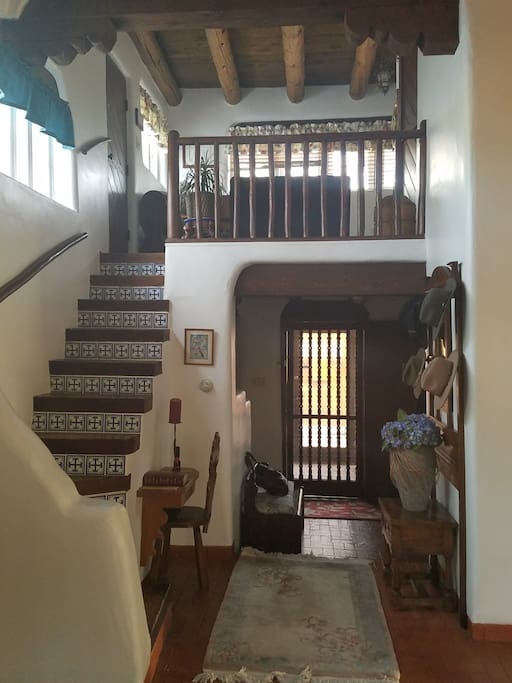 Charming loft with handmade custom Spanish tile.  This area is off limits but is a beautiful space to look at.