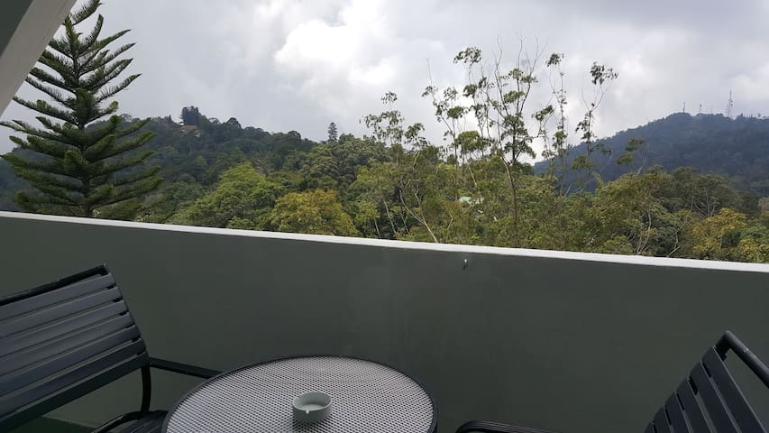 Balcony direct facing nice jungle view,you can see Golf course from Balcony. Wind is strong esp at night. To avoid life insert or bugs ps turn off the light at night. Always closed the sliding door to avoid mosquoto and bugs enter into apmt.