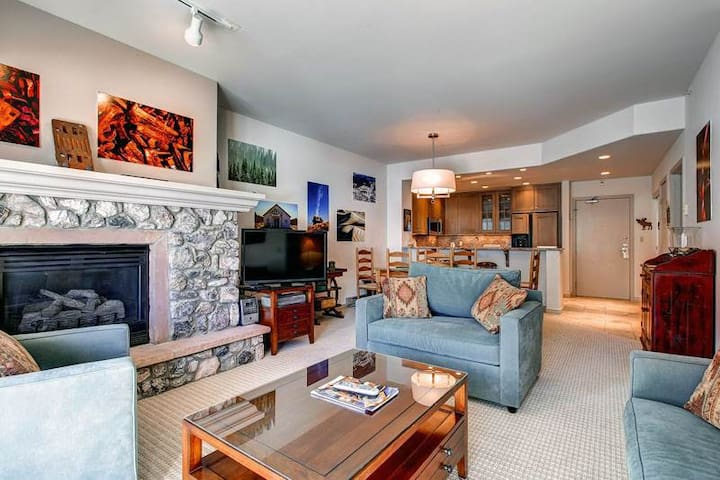Soak in the shared pool & hot tub after returning to this ski-in/ski-out condo