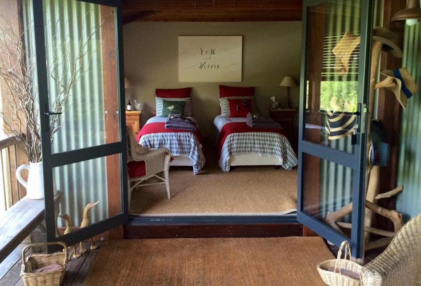 This is your private entrance off your private veranda.You have your own key. Enjoy a beautiful vista to the north east from your own outdoor seating and table and chairs.The room shown here is made up as 2 singles but converts easily to a queen bed.