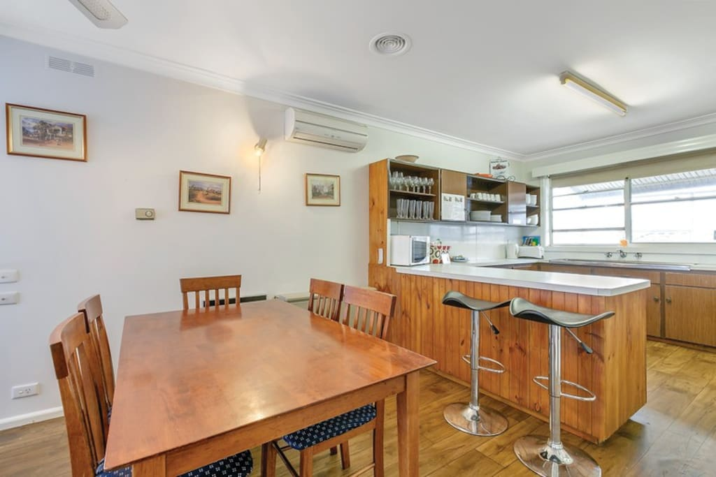 The kitchen/dining area has plenty of room for everyone.