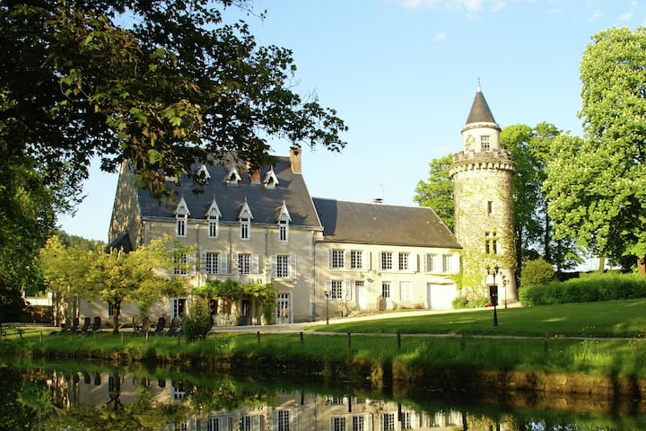 Luxury vacation castle with 3.5 hectares garden, pool and jacuzzi at Dijon