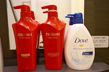 We offer Shiseido shampoo & conditioner and Dove body wash.
